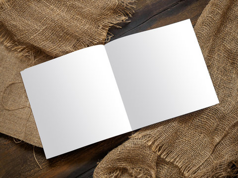 Mockup of restaurant cafe menu book on wood boards. Rustic style