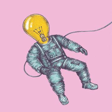 Astronaut With A Lightbulb Head