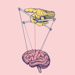 Illustration of hand controlling brain like marionette