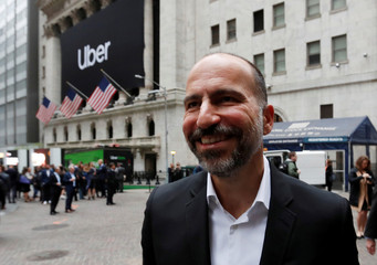 Uber Technologies Inc., CEO Dara Khosrowshahi outside NYSE ahead of company's IPO in New York