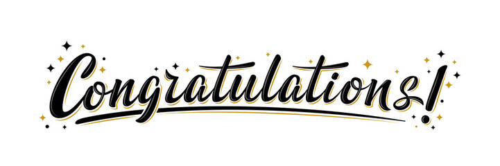 """Congratulations!"" bulk lettering greeting sign. Handwritten modern brush lettering with golden stars. Text for card, T-shirt print, banner, poster, web, notebook, sketchbook. Isolated vector"