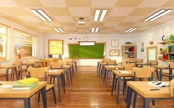Empty school classroom in cartoon style. Education concept without students. 3d render interior illustration. Back to school design template.