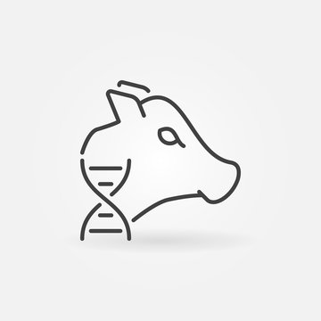 Cow with DNA vector concept icon or design element in thin line style
