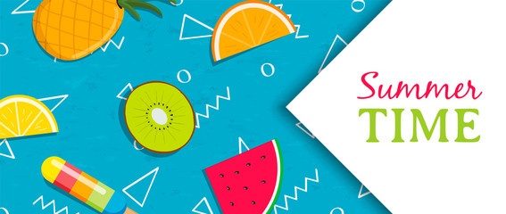 Summer time banner with tropical fruit ice cream