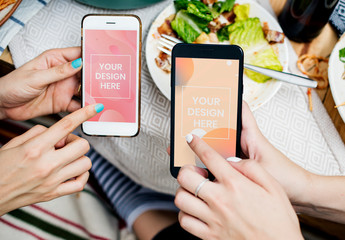 People Using Smartphone Mockup on Dinner Table