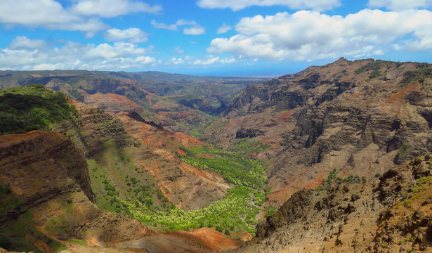 Panoramic view of Waimea Canyon and valley, aka the Grand Canyon of the Pacific, Kauai, Hawaii, USA