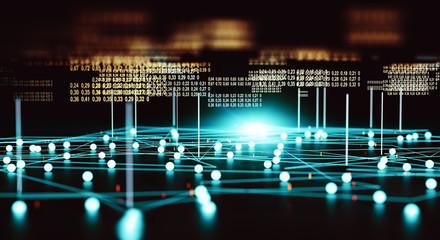 Obraz Fondo abstracto de big data y herramientas informáticas. Tecnología y comunicación para el análisis y la gestión de datos en Internet. - fototapety do salonu
