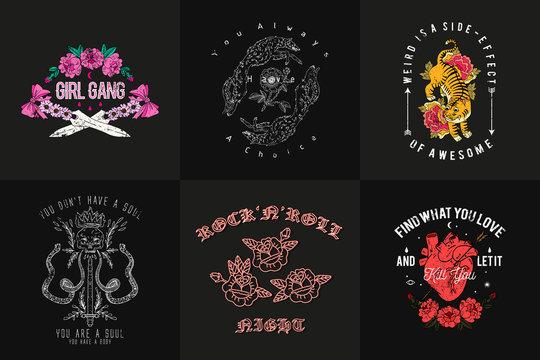 Set typography prints with slogan