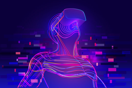 Digital glitch effect in abstract virtual reality. Enthusiastic man wearing vr headset. Vector illustration