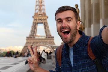Cute tourist taking a selfie in France