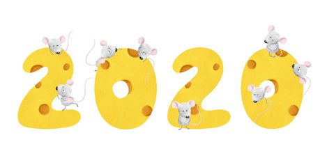 Bright cheese 2020 number with funny mouses. Cute bold colored tasty element for design white isolated