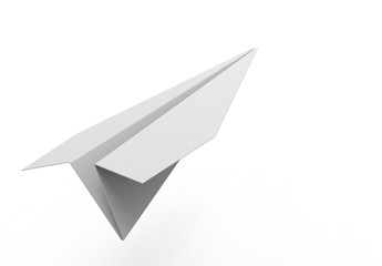 3D rendering illustration of a 3d paper airplane is a white studio background