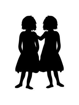 zwillinge schwestern 2 freunde beste freundinnen team paar liebe kinder frauen weiblich geschwister familie clipart silhouette design