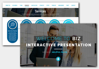 Business Presentation Layout with Blue Accents and Dark Photo Mask Titles