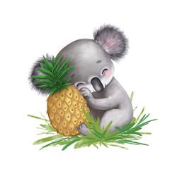 digital drawing of cute koala with pineapple, cartoon character
