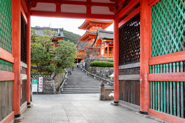 Early morning at a temple in the Gion district of Kyoto, Japan