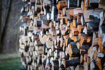 Zelfklevend Fotobehang Brandhout textuur Stack of wood