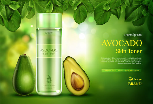 Avocado cosmetics skin toner . Organic beauty product bottle mockup on green blurred background with tree leaves. Natural eco skincare cosmetic, advertising promo template Realistic 3d vector ad