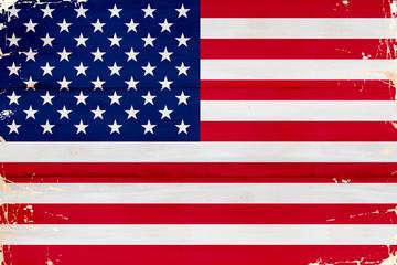 Flaga USA malowana na starej desce. - fototapety na wymiar