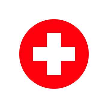 Red cross hospital isolated sign on white background. Medicine or pharmacy emblem.