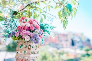 Obraz View of the beautiful and cozy village of Corniglia in the Cinque Terre Reserve - fototapety do salonu