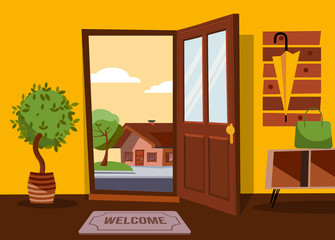 Deurstickers Rood paars The interior of hallway in flat cartoon style with open door overlooking summer landscape with small country house and green tree.Hanger with umbrella on wall. Table with bag stands under coat rack