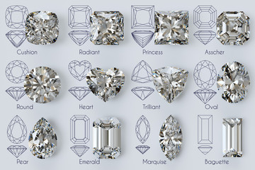 Twelve popular diamond shapes with titles, diagrams on white background Wall mural
