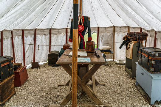 Yorktown, Virginia, USA - April 25. 2019 - An example of an officer's quarters when in encampment in the 18th centrury.