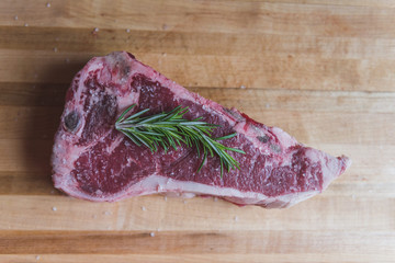 Raw Steak with Sea Salt and Rosemary
