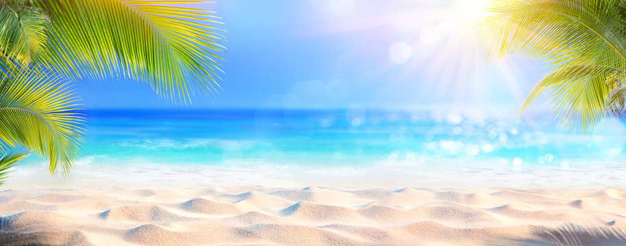 Sunny Tropical Beach With Palm Leaves And Paradise Island