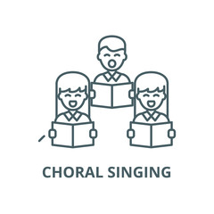 Choral singing vector line icon, outline concept, linear sign