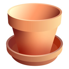 Terra Cotta Pot with Saucer and Realistic Shadows