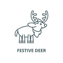 Festive deer vector line icon, outline concept, linear sign