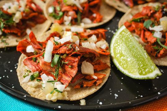 tacos al pastor, mexican taco, street food in mexico city
