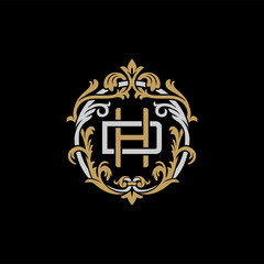 Initial letter D and H, DH, HD, decorative ornament emblem badge, overlapping monogram logo, elegant luxury silver gold color on black background