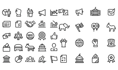 Politics - outline icon set illustration