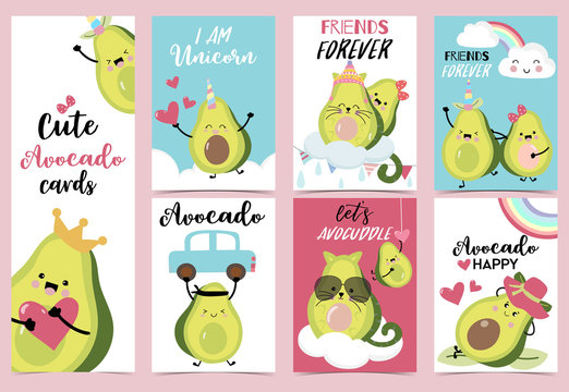 Collection of avocado set with heart,rainbow,car,horn and cloud