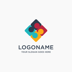 Abstract teamwork, share, link logo icon, with puzzle of people