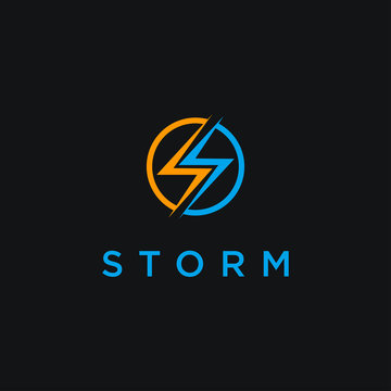 Letter S for storm logo icon vector template on black background