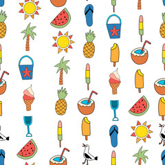 Seamless vector background summer icons. Repeating pattern with watermelon, popsicle, pineapple, coconut, ice cream cone, palm tree, seagull, flipflop sandal, sunscreen