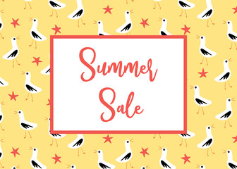 Summer Sale banner vector with seagulls pattern yellow