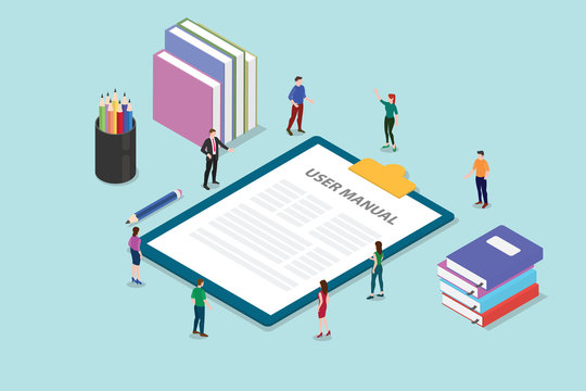 user manual book concept with people and some guide on the clipboard with modern style flat and isometric or isometry 3d - vector