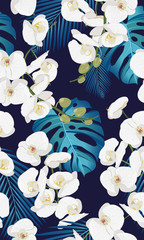 white orchid floral seamless pattern with tropical leaves on white background.