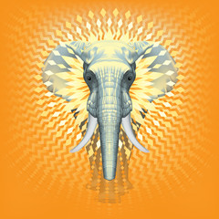 Global Warming Elephant in The Room ? Front Realistic Illustration of African Elephant –  Sun GeometricalDecorative Design - Metamorphosis - Symmetrical Isolated Composition