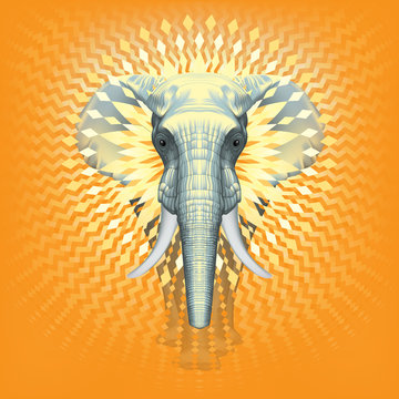 Global Warming Elephant in The Room ? Front Realistic Illustration of African Elephant –  Sun Geometrical Decorative Design - Metamorphosis - Symmetrical Isolated Composition