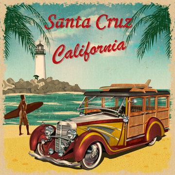 Santa Cruz,California retro poster.