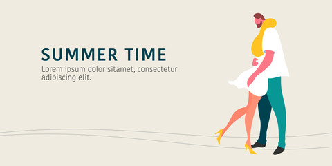 Dating couple in summer vector illustration. Man and woman enjoying romantic relationship