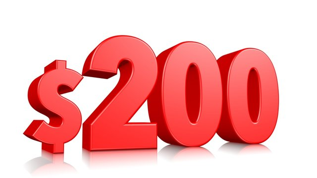 200$ Two hundred price symbol. red text number 3d render with dollar sign on white background