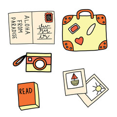 Set of summer vacation icons vector. Postcard, suitcase, camera, pictures, book