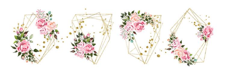 Wedding floral geometric triangular frame